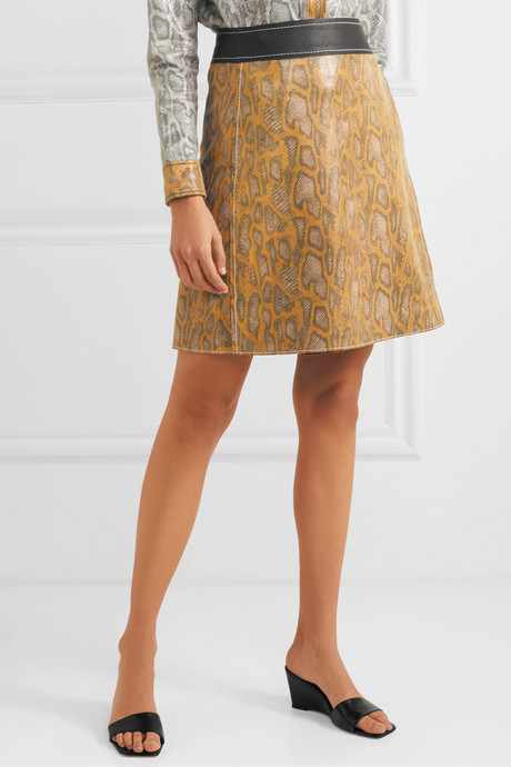 Elene snake-effect leather wrap mini skirt