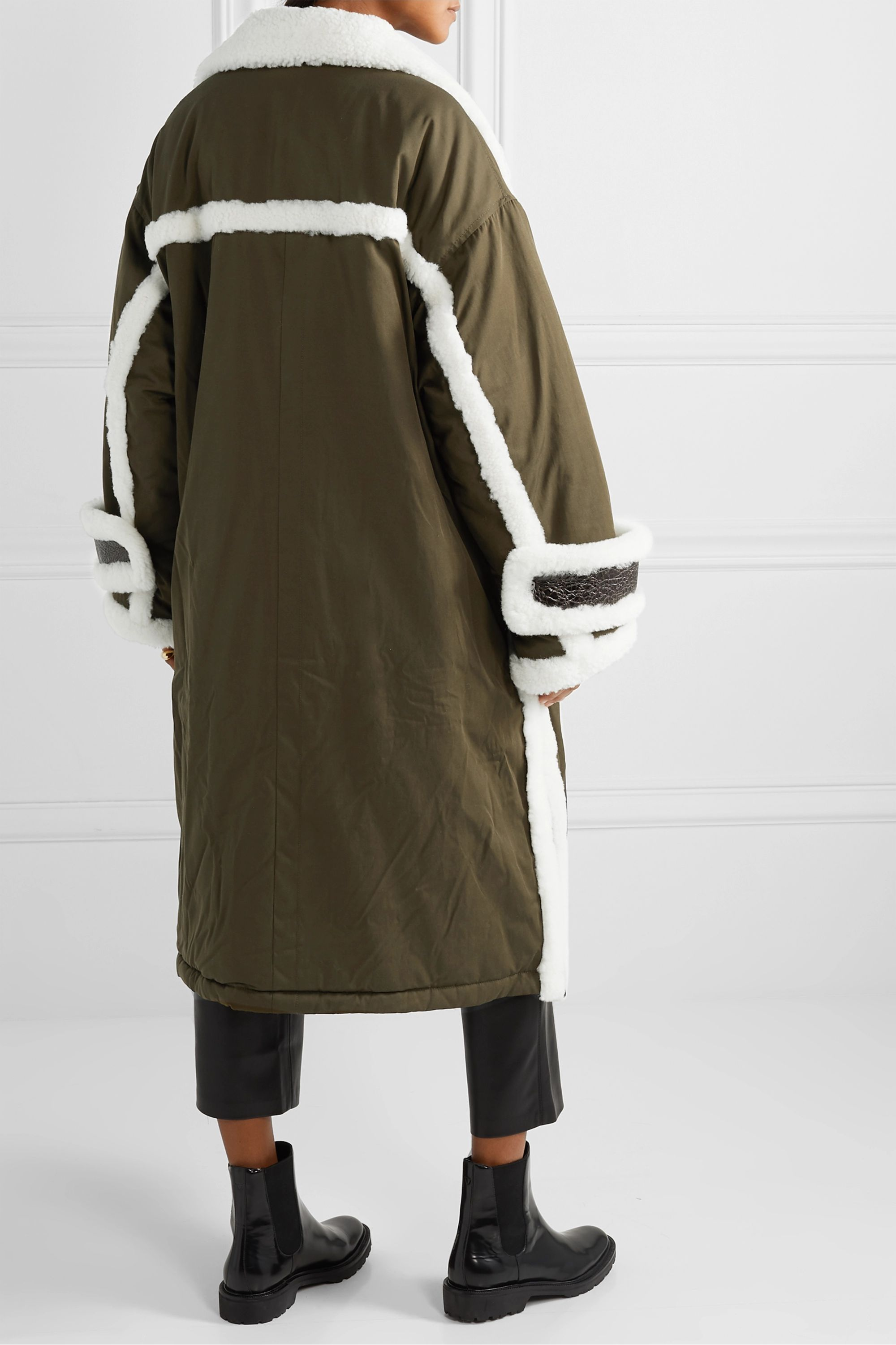 Stand Studio Adira oversized textured-leather and shearling-trimmed shell parka