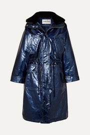 Fatima oversized faux fur-trimmed crinkled metallic faux leather coat