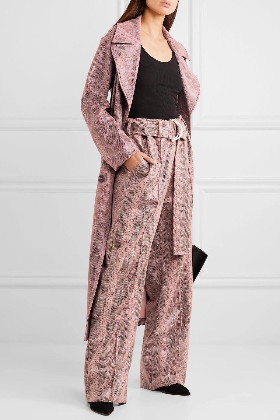 Stand Studio Alaina belted snake-effect coated vegan leather wide-leg pants