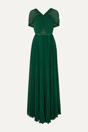 Self-Portrait Pleated grosgrain-trimmed chiffon maxi dress