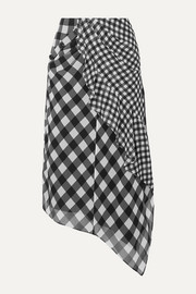 Self-Portrait Asymmetric draped gingham chiffon midi skirt
