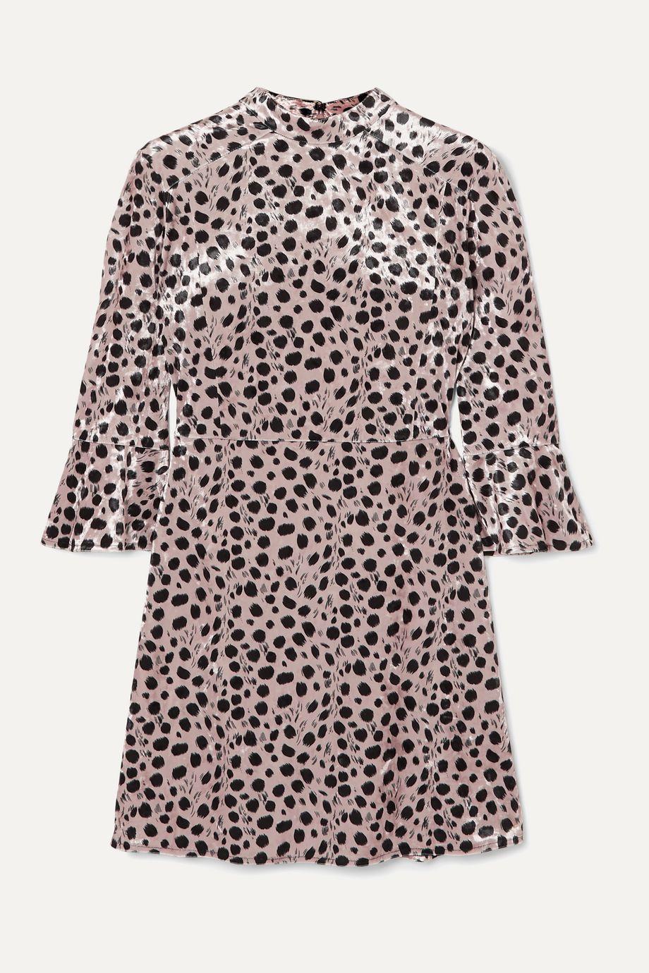 HVN Ashley leopard-print velvet mini dress