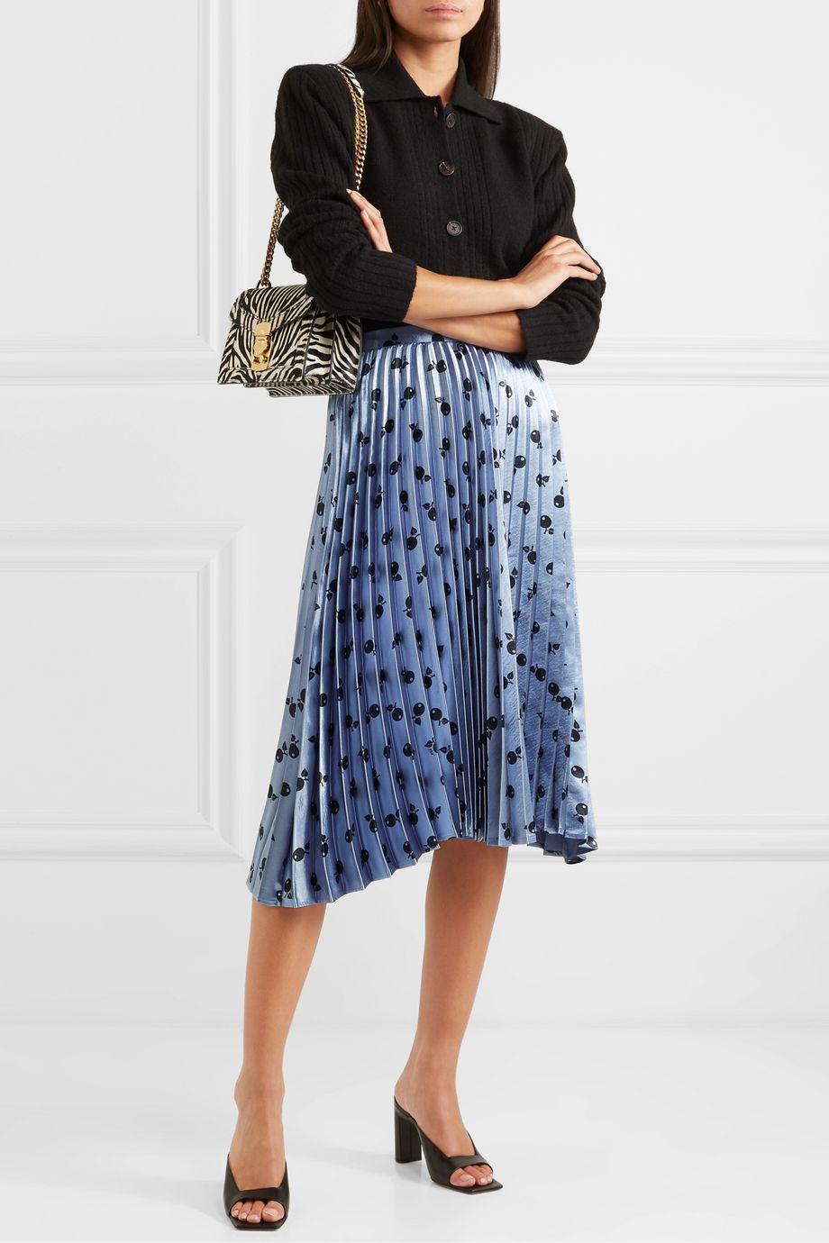 HVN Tracy metallic printed pleated satin midi skirt