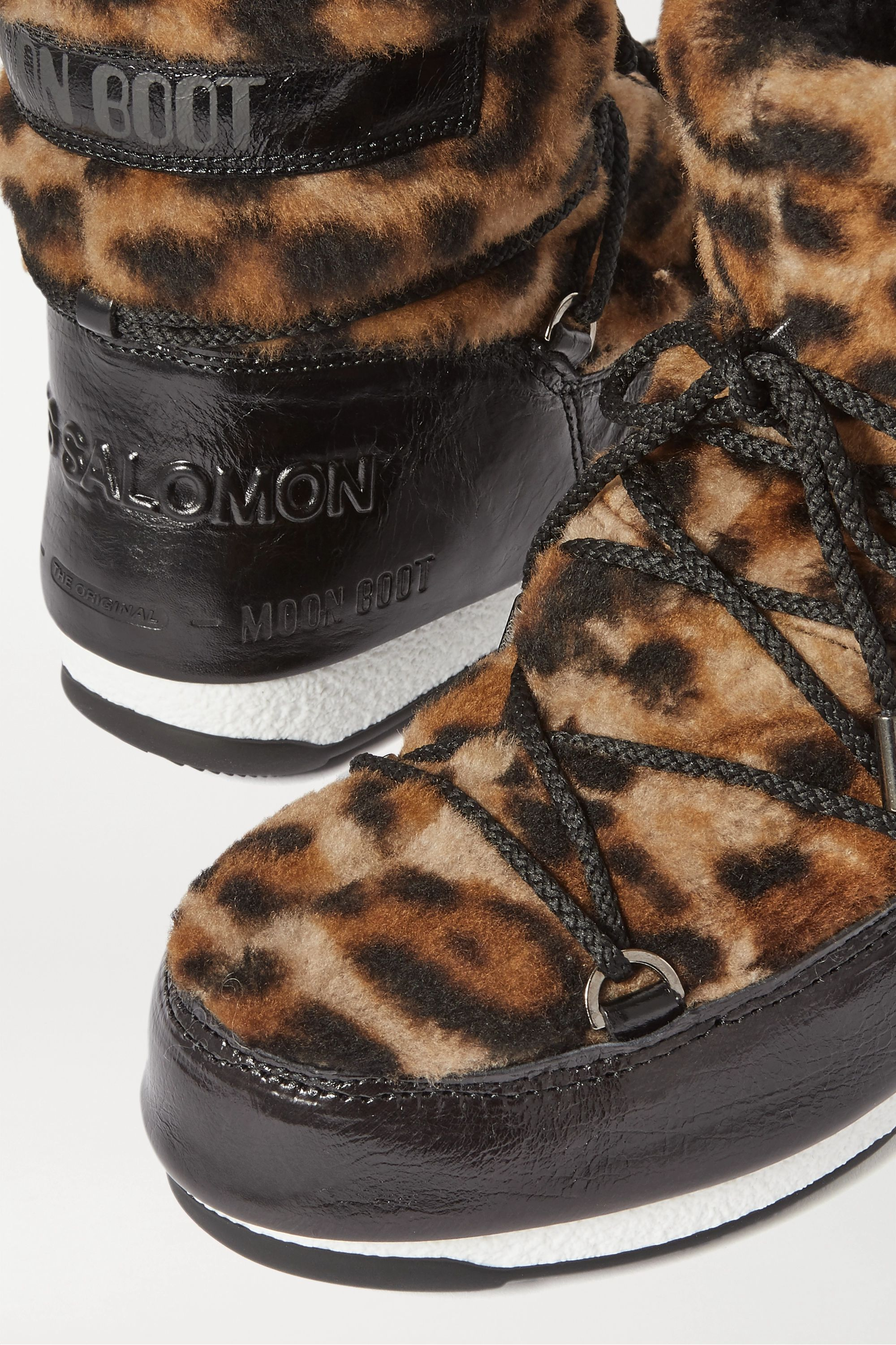 Moon Boot leopard-print shearling and