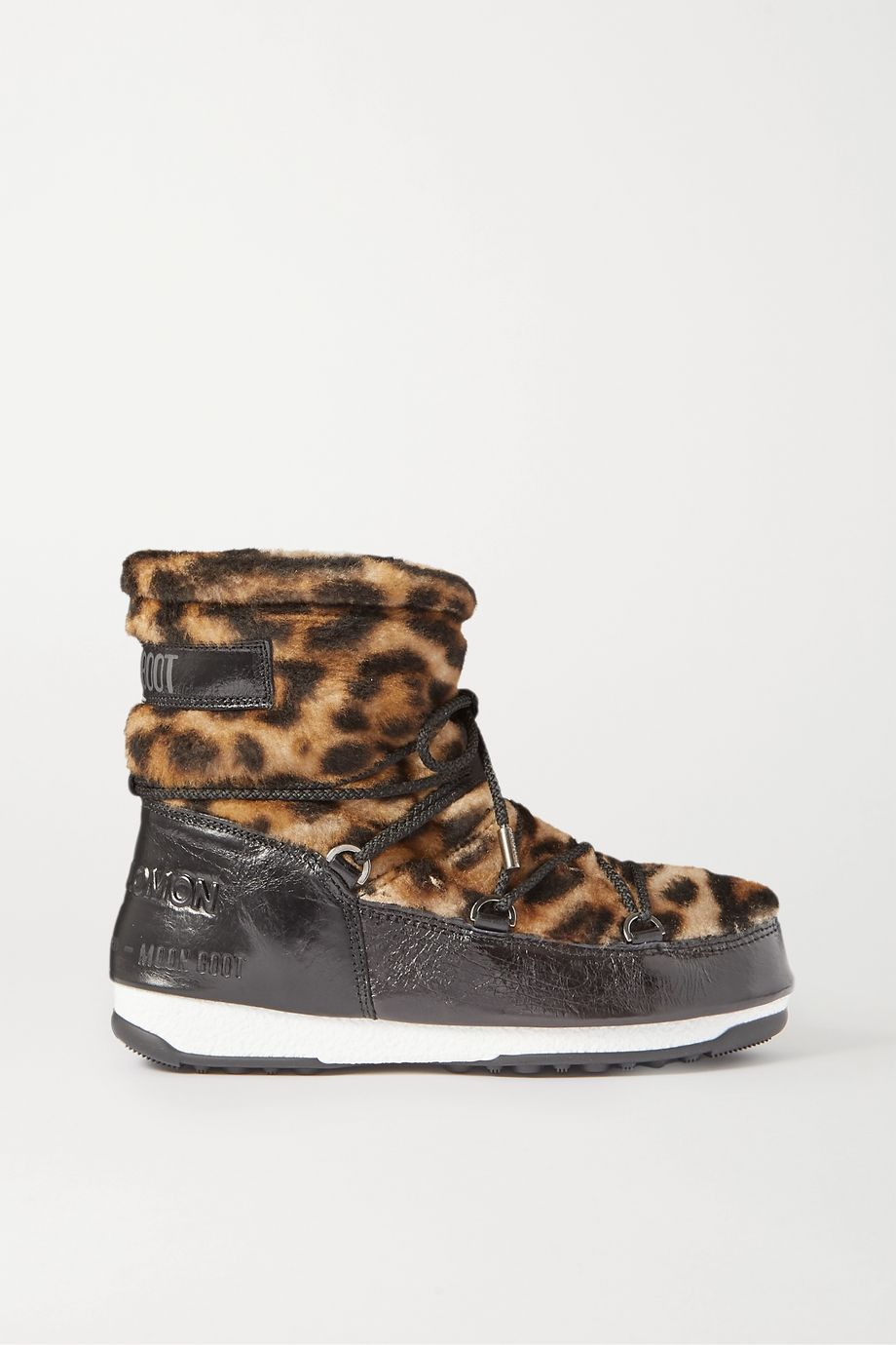 Yves Salomon + Moon Boot leopard-print shearling and patent-leather snow boots