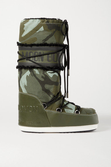 + Moon Boot shearling trimmed camouflage print shell and leather snow boots