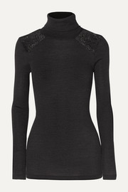 Rubina lace-trimmed ribbed wool and silk-blend turtleneck top