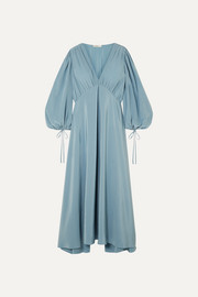 Sante gathered silk crepe de chine maxi dress