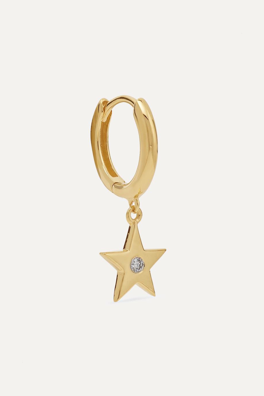 Andrea Fohrman Star 18-karat gold diamond hoop earring