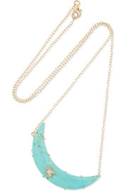 Collier en or 14 carats, turquoise et diamants Crescent Moon