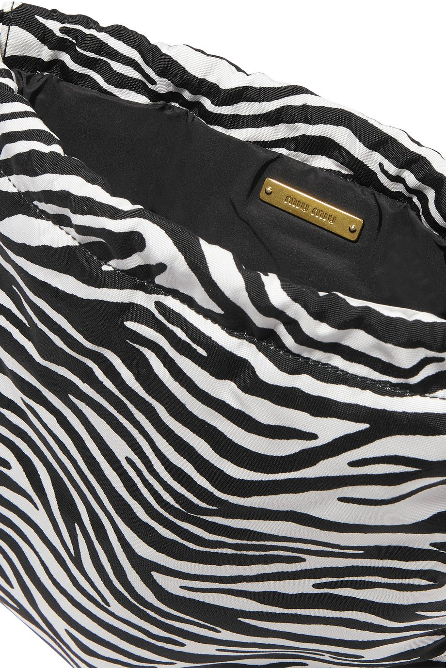 Miu Miu Leather-trimmed zebra-print canvas pouch