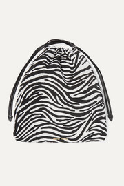 Leather-trimmed zebra-print canvas pouch
