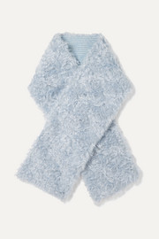 Reversible mohair and cotton-blend faux shearling and wool scarf