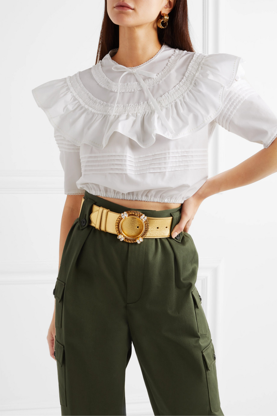 Miu Miu Crystal-embellished metallic leather belt