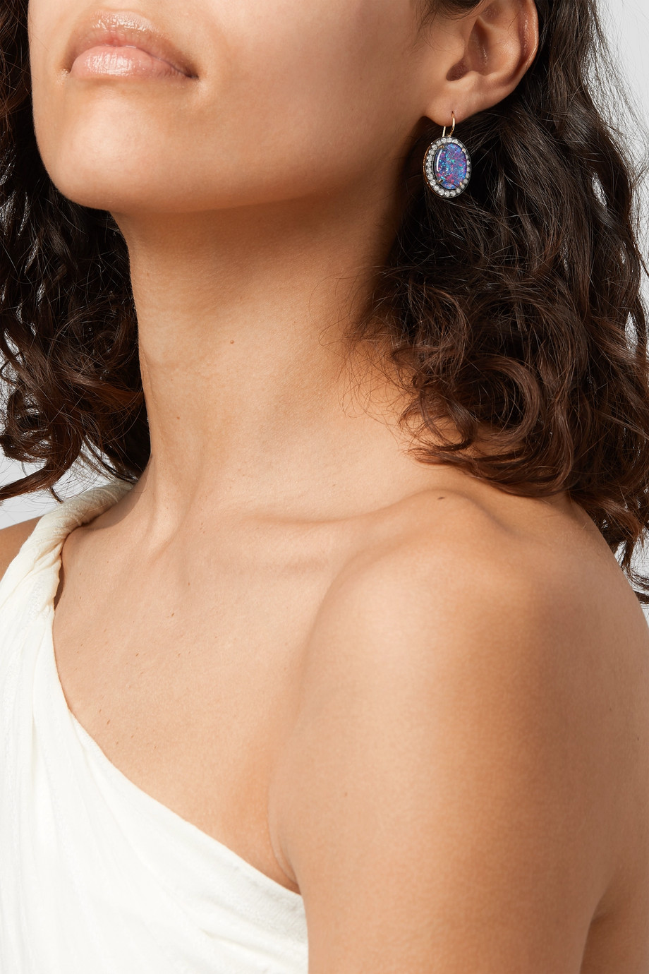 Andrea Fohrman Kat 18-karat gold, opal and diamond earrings
