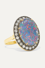 Andrea Fohrman Kat 18-karat gold, opal and diamond ring