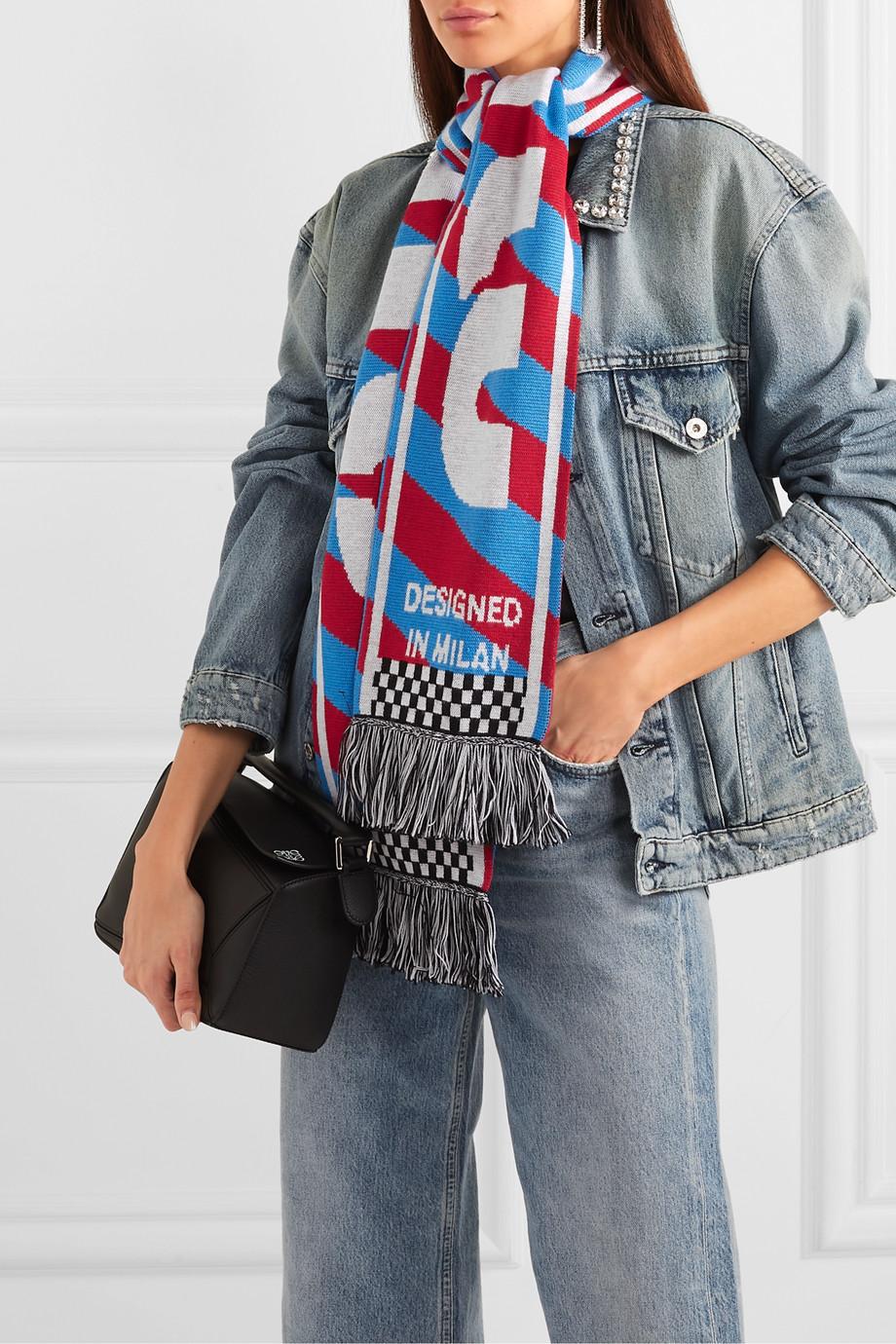 Miu Miu Schal aus Wolle mit Intarsienmuster und Fransen