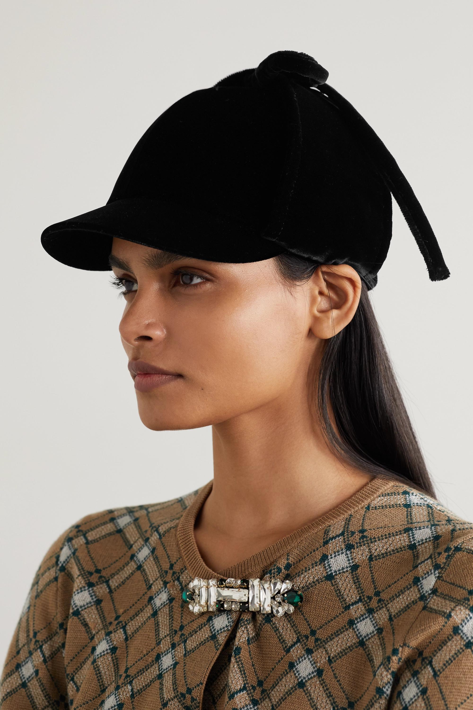 Miu Miu Bow-detailed cotton-velvet cap