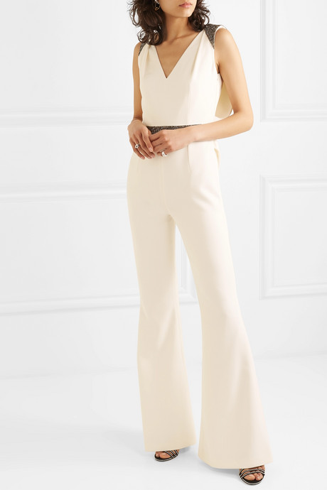 Draped embellished crepe jumpsuit