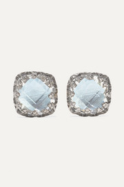 Jane small rhodium-dipped quartz earrings