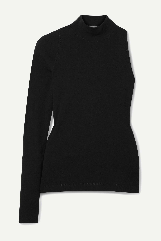 Rosetta Getty One-sleeve cotton-jersey turtleneck top