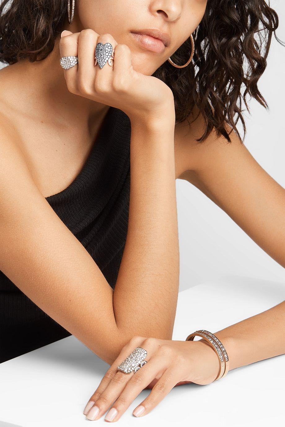 Sylva & Cie 18-karat rose gold, sterling silver and diamond ring