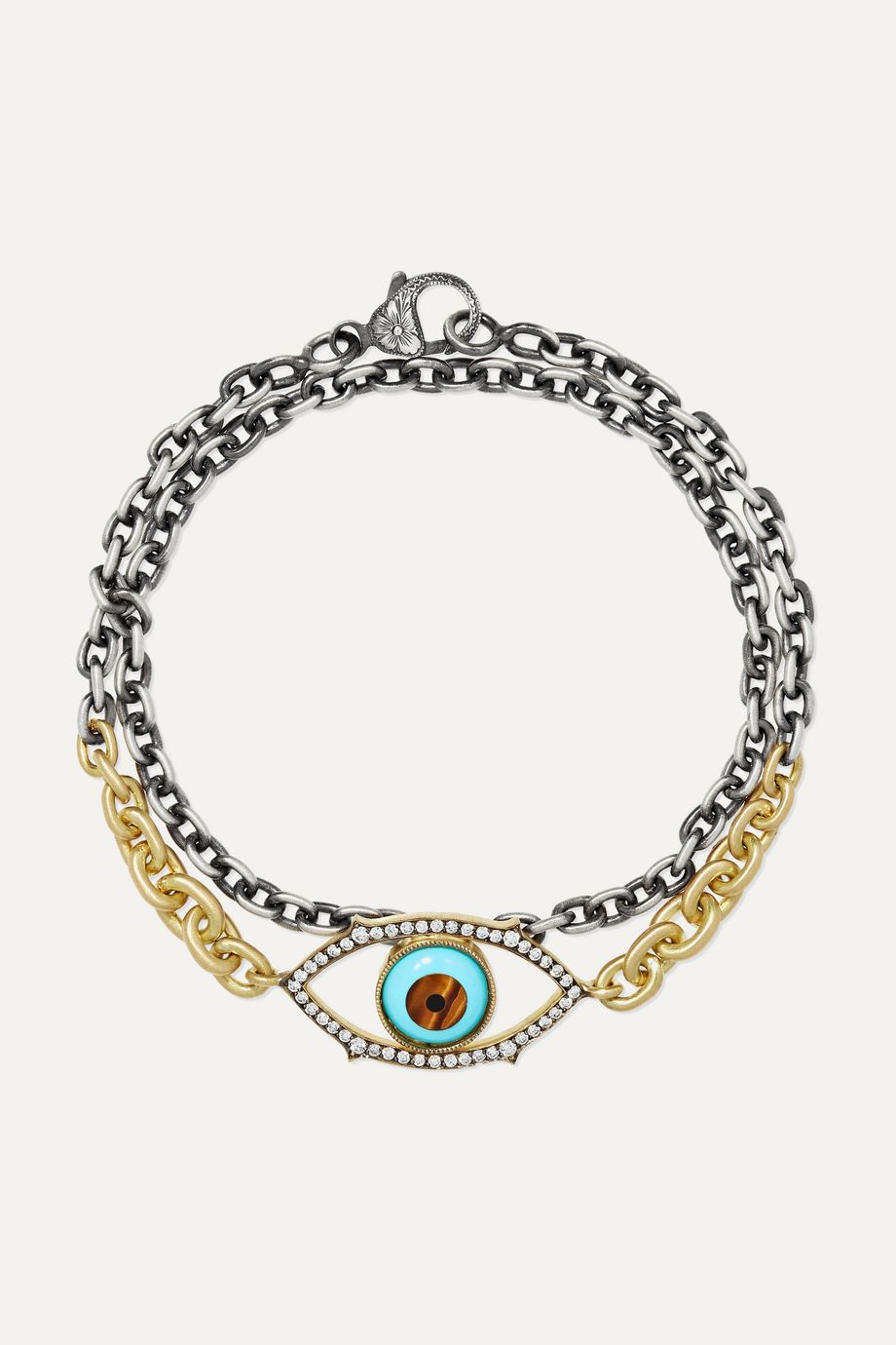 Sylva & Cie 18-karat gold, sterling silver and multi-stone bracelet