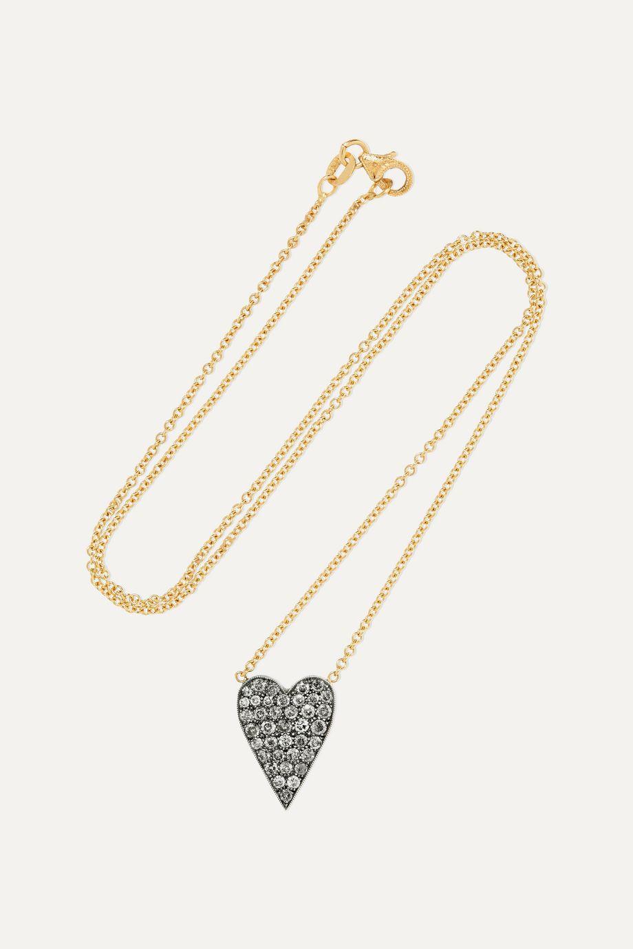 Sylva & Cie Kette aus 18 Karat Gold und Sterlingsilber mit Diamanten