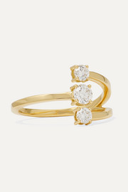 Aria Moon small 18-karat gold diamond ring