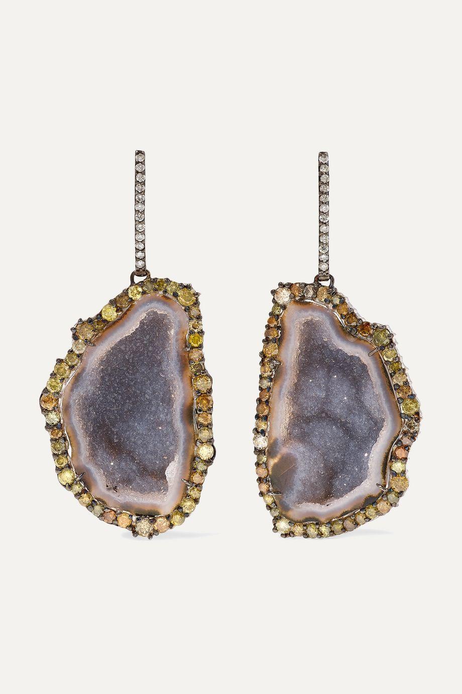 Kimberly McDonald + NET SUSTAIN 18-karat blackened white gold, geode and diamond earrings