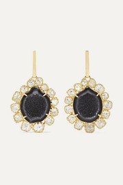 Kimberly McDonald + NET SUSTAIN 18-karat green gold, geode and diamond earrings