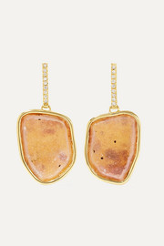 Kimberly McDonald + NET SUSTAIN 18-karat gold, geode and diamond earrings