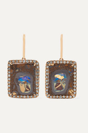 Kimberly McDonald + NET SUSTAIN 18-karat rose gold, opal and diamond earrings