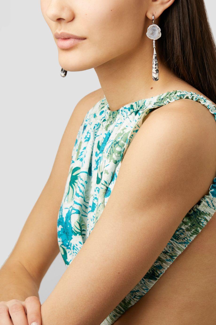Kimberly McDonald + NET SUSTAIN 18-karat white gold multi-stone earrings