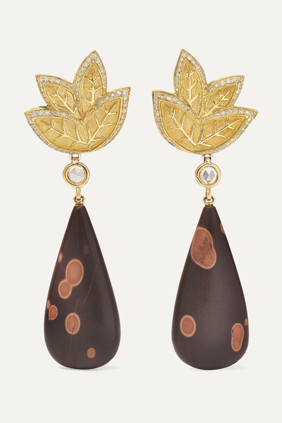 Kimberly McDonald + NET SUSTAIN 18-karat gold, astronomite and diamond earrings