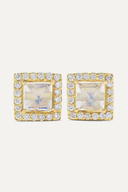 + NET SUSTAIN 18-karat gold, moonstone and diamond earrings