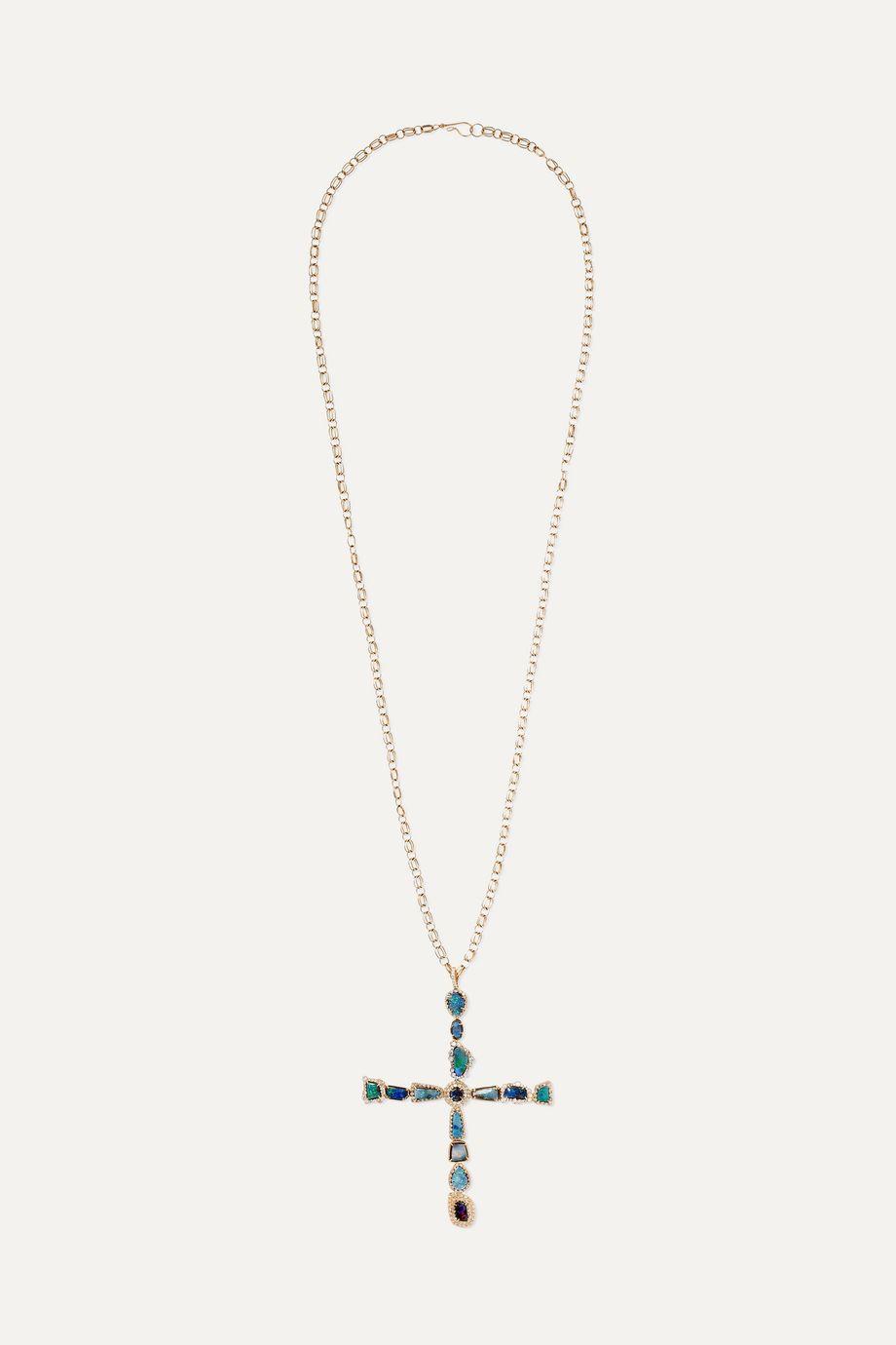 Kimberly McDonald + NET SUSTAIN 18-karat rose gold, opal and diamond necklace