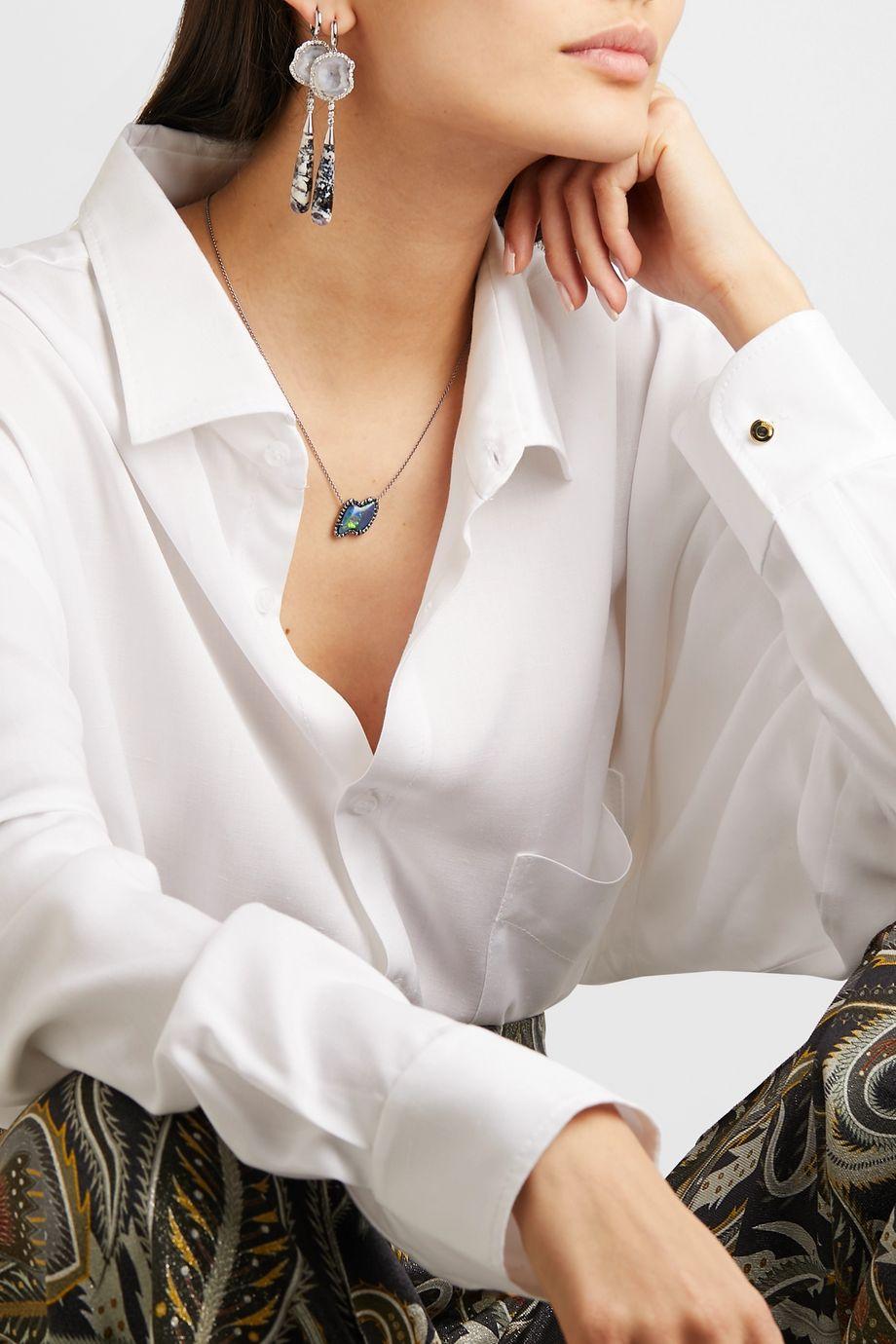 Kimberly McDonald + NET SUSTAIN 18-karat blackened white gold, opal and diamond necklace