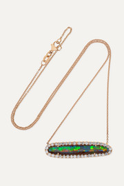 + NET SUSTAIN 18-karat rose gold, opal and diamond necklace
