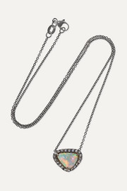 Kimberly McDonald + NET SUSTAIN 18-karat blackened white gold, opal and diamond necklace