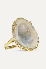 Kimberly McDonald + NET SUSTAIN 18-karat gold, geode and diamond ring