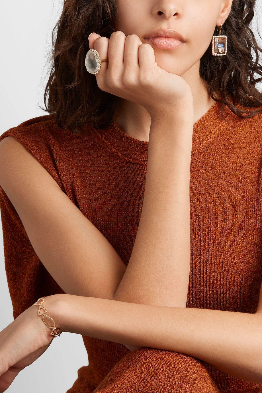 Kimberly McDonald + NET SUSTAIN 18-karat gold, geode and diamond ring