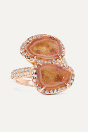 Kimberly McDonald + NET SUSTAIN 18-karat rose gold, geode and diamond ring