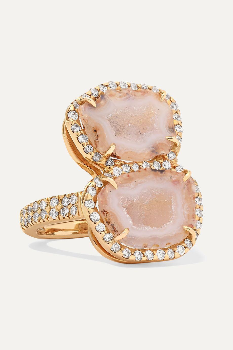 Kimberly McDonald + NET SUSTAIN 18-karat rose gold geode and diamond ring