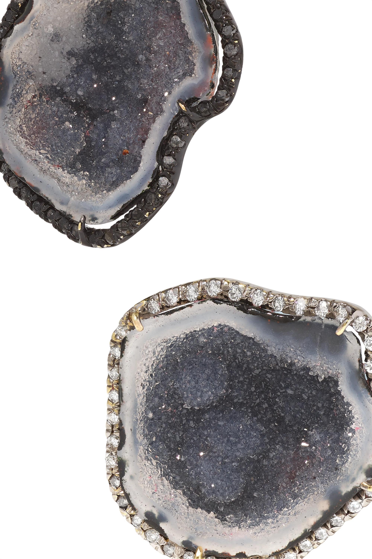 Kimberly McDonald + NET SUSTAIN 18-karat gold, geode and diamond cuff