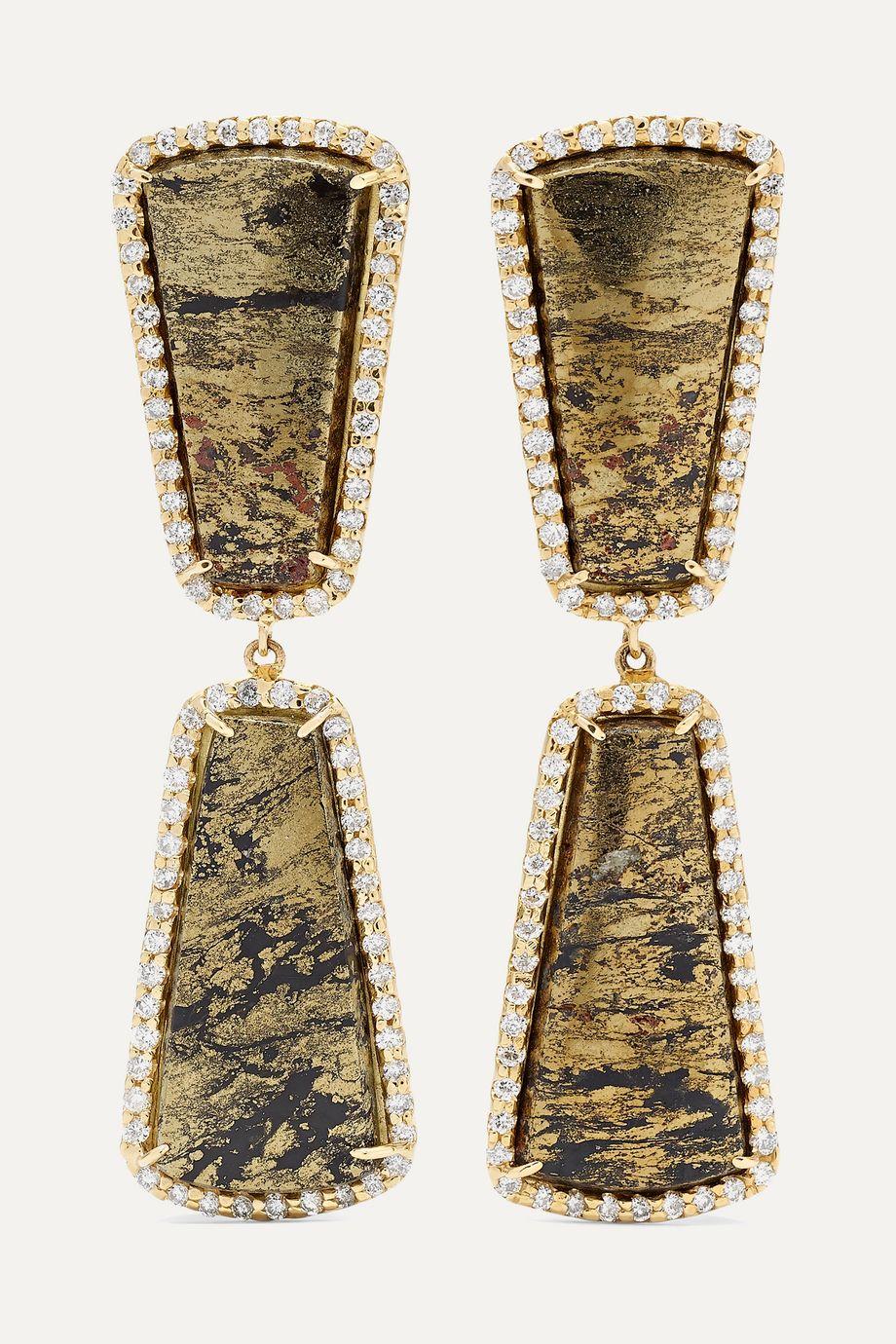 Kimberly McDonald + NET SUSTAIN 18-karat gold, apache gold and diamond earrings