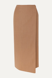 La Collection Augusta wool-blend wrap midi skirt