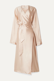 La Collection Eleni belted silk-satin wrap dress