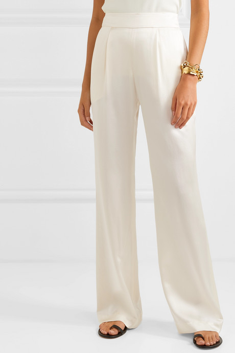 Gabrielle hammered silk-satin wide-leg pants